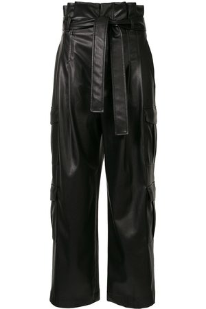 GOEN.J Faux-leather tie waist trousers