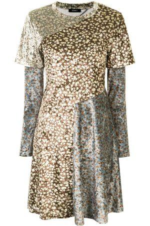 Goen.J Damen Freizeitkleider - Floral-print panelled dress