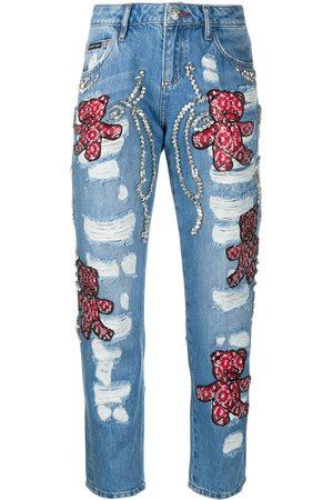 Philipp Plein Damen Baggy & Boyfriend - Boyfriend Teddy Bear jeans