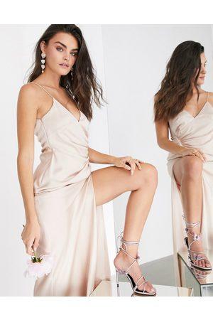 ASOS Damen Lange Kleider - Satin cami maxi dress with drape detail in
