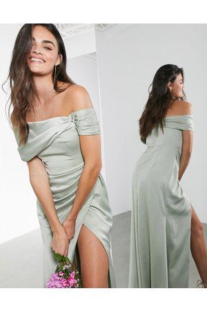 ASOS Satin bardot drape wrap maxi dress in sage