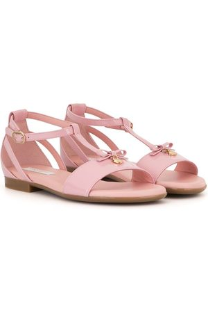 Dolce & Gabbana T-bar bow-charm sandals