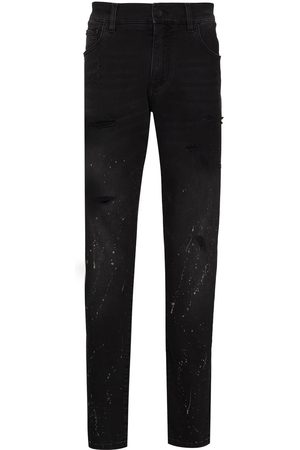 Dolce & Gabbana Splatter-paint straight-leg jeans
