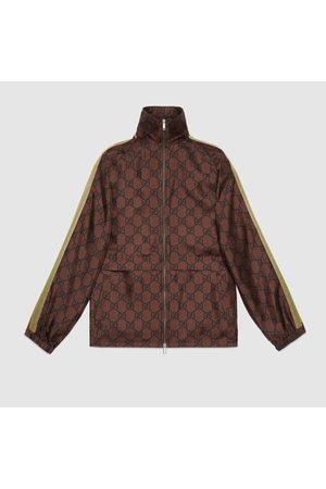 Gucci Damen Outdoorjacken - Jacke aus Seide mit Reißverschluss und GG Print