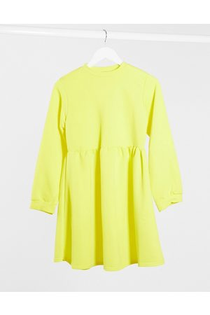Rokoko Oversized smock sweat dress in buttercup