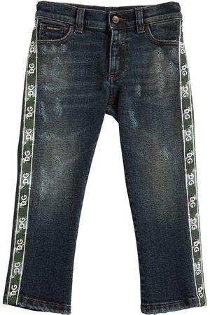 Dolce & Gabbana Jeans Aus Stretch-denim Mit Logostreifen