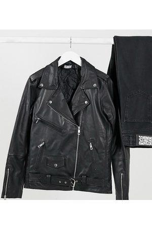 Reclaimed Damen Lederjacken - Inspired oversized leather biker jacket-Black