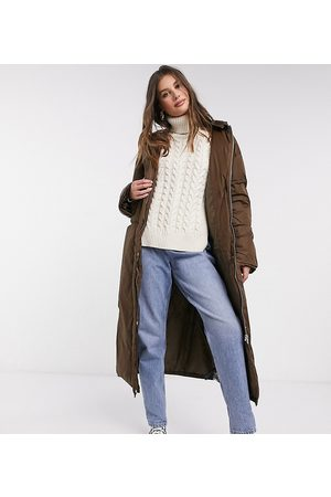ASOS ASOS DESIGN Tall ruched sleeve maxi puffer coat in