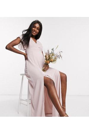 TFNC Damen Lange Kleider - Bridesmaid plunge front flutter sleeve maxi dress in