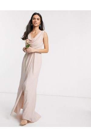 ASOS Bridesmaid cowl front maxi dress with button back detail in Blush