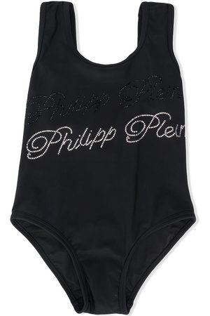 Philipp Plein Mädchen Badeanzüge - Embellished signature swimsuit