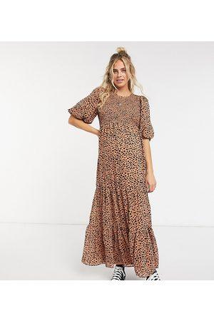 ASOS ASOS DESIGN Maternity shirred tiered maxi dress in spot print-Multi