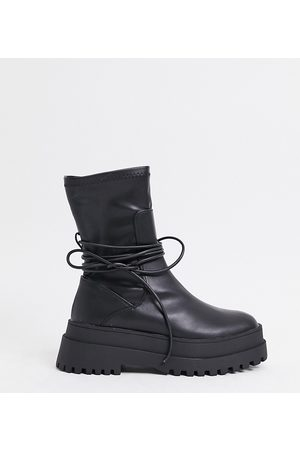 Public Desire Finale chunky flat ankle boots with tie in