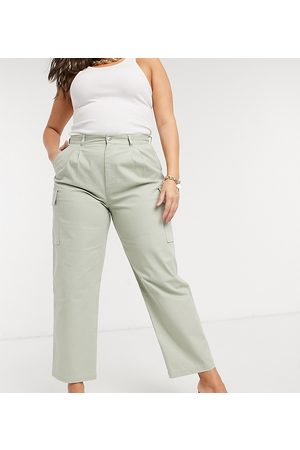 ASOS ASOS DESIGN Curve pleat front chino with cargo pockets in sage