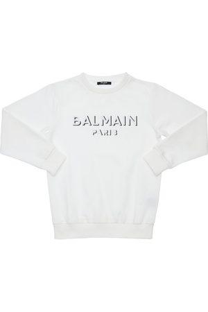 Balmain Sweatshirt Aus Baumwolle Mit Logostickerei