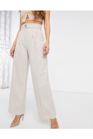 River Island Pleated wide leg trousers in