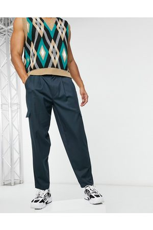 ASOS Cargo oversized tapered smart trousers in