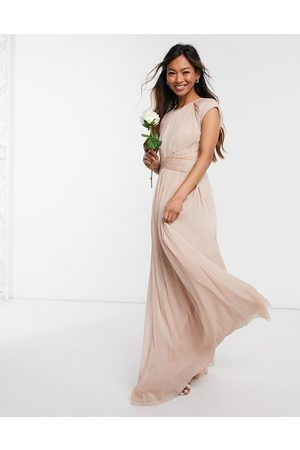 ASOS Bridesmaid ruched bodice maxi dress with cap sleeve detail