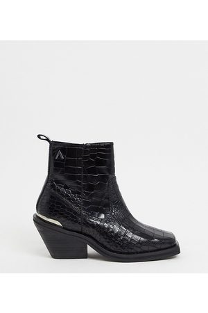 ASRA Exclusive Maverick square toe ankle boots in mock croc leather