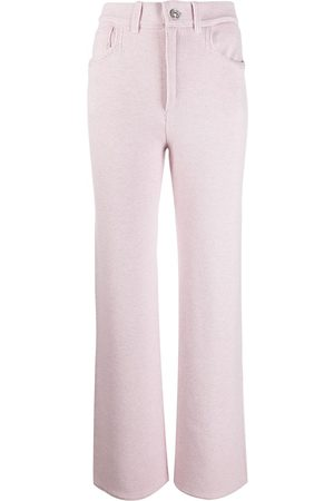 Barrie High-waisted cashmere-blend trousers