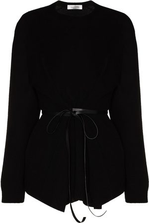 VALENTINO Leather belted wool cashmere sweater