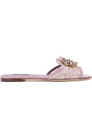 Dolce & Gabbana Damen Schnürschuhe - Bianca crystal-embellished lace sandals