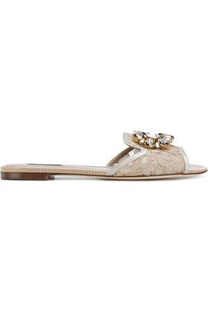 Dolce & Gabbana Bianca crystal-embellished lace sandals