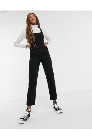 ASOS Denim square neck fitted jumpsuit in washed black