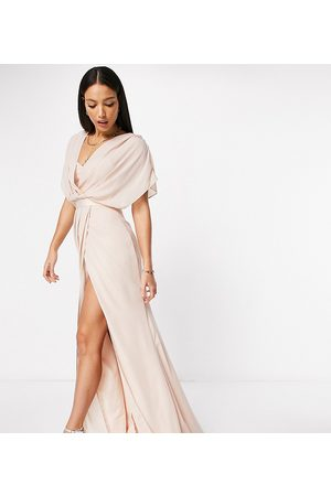 ASOS ASOS DESIGN Tall Bridesmaid short sleeved cowl front maxi dress with button back detail