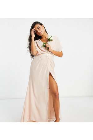 ASOS ASOS DESIGN Petite Bridesmaid short sleeved cowl front maxi dress with button back detail