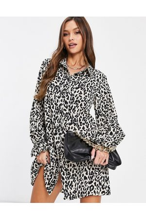 Missguided Shirt dress with frill cuff detail in leopard print