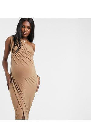 Club L Club L London Maternity slinky one shoulder maxi dress with thigh split in camel