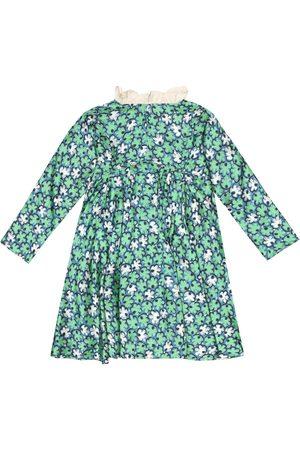 Caramel Bedrucktes Kleid Puffin aus Faille