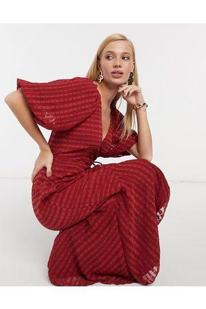 ASOS Wrap maxi dress in self stripe in oxblood