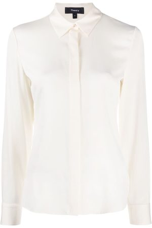 THEORY Long-sleeved concealed placket blouse