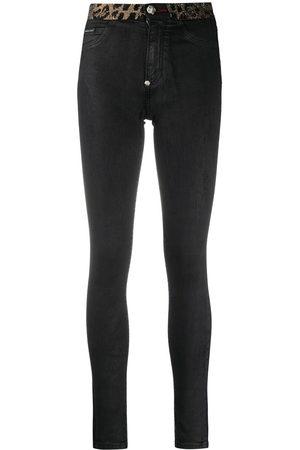 Philipp Plein Leopard-trimmed skinny jeans