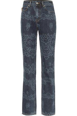Ganni Bedruckte High-Rise Slim Jeans