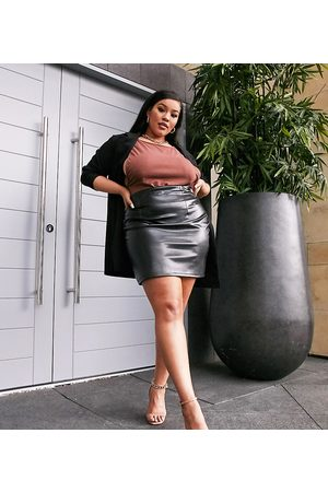 ASOS Curve leather look seamed super mini skirt in
