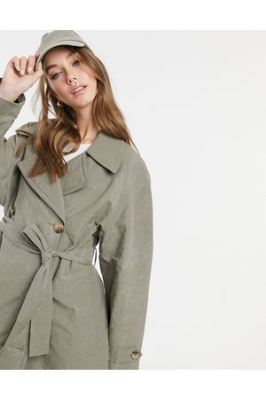 ASOS Trench coat with contrast stitching in sage