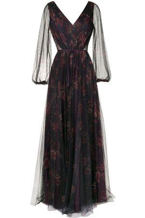 Marchesa Notte Sheer floral maxi dress