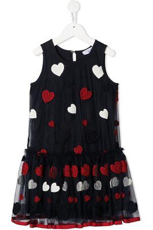 MONNALISA Embroidered heart tulle dress