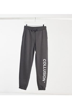 COLLUSION Unisex logo joggers in dark grey