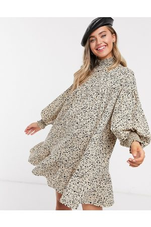 ASOS High neck shirred cuff mini smock dress in mini animal print