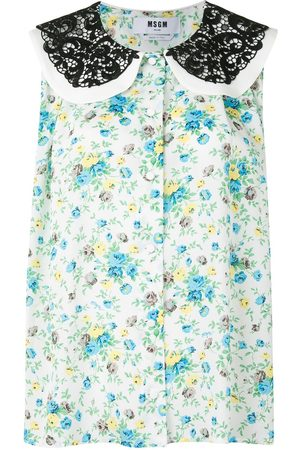 Msgm Sleeveless floral lace-collar blouse