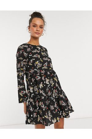 ASOS Long sleeve tiered smock mini dress in black floral print