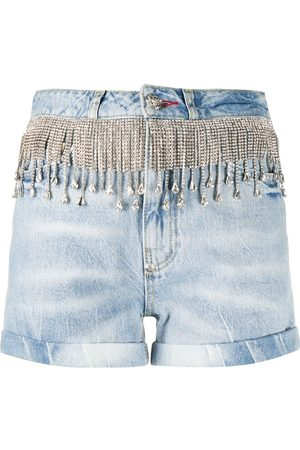 Philipp Plein Crystal fringe denim shorts