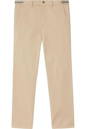 Burberry Herren Chinos - Stripe-detail cotton chino trousers