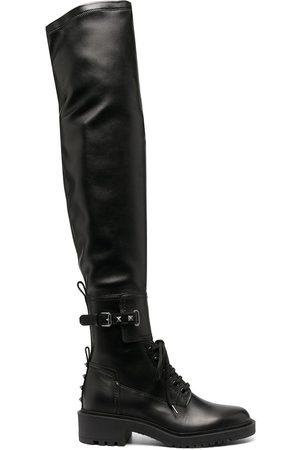 VALENTINO GARAVANI Rockstud over-the-knee combat boots