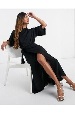 ASOS Cowl neck midi dress with wrap skirt in