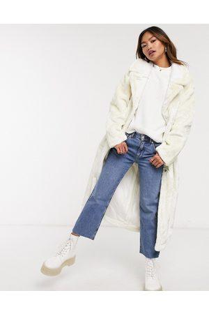 ASOS Plush faux fur maxi coat in cream
